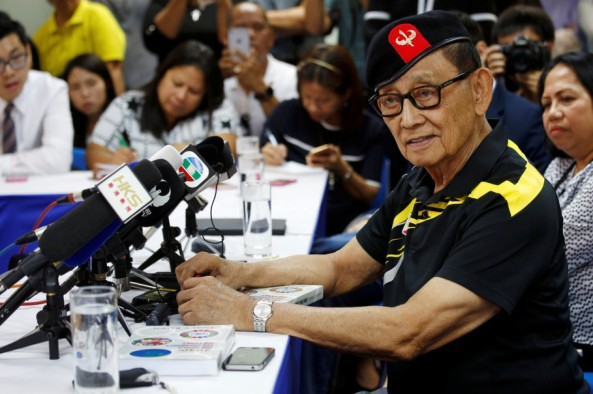 Former Philippine President Fidel Ramos speaks to journalists during a trip to Hong Kong